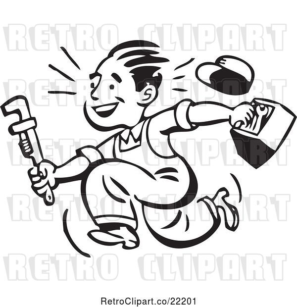 Vector Clip Art of Retro Plumber or Handy Guy Running with Tools