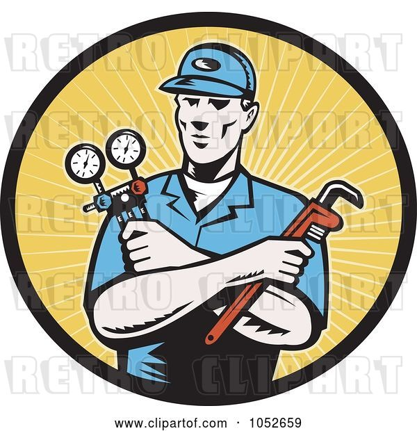 Vector Clip Art of Retro Plumber over Yellow Rays Logo