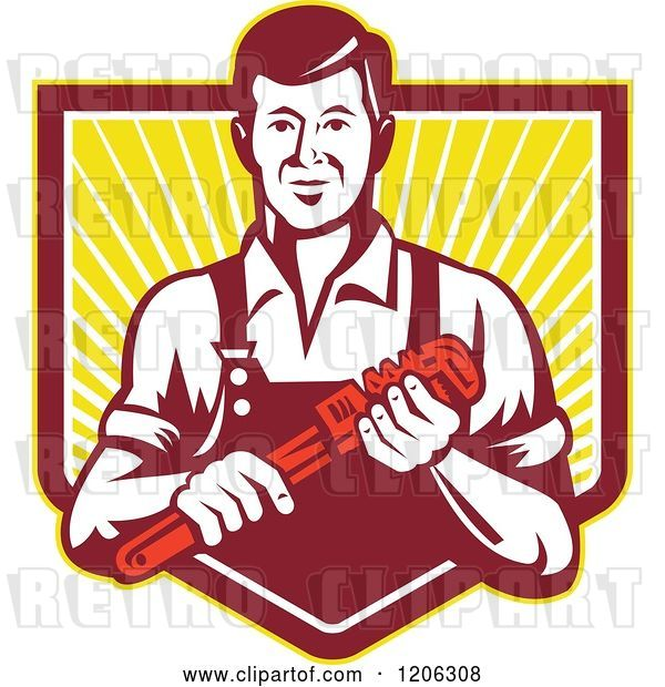 Vector Clip Art of Retro Plumber Worker Guy Holding a Monkey Wrench over a Ray Crest Shield