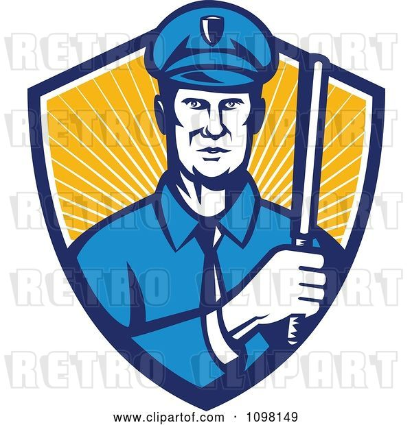 Vector Clip Art of Retro Police Officer Holding a Baton in a Shield or Rays