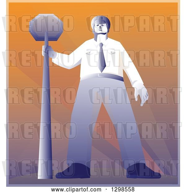 Vector Clip Art of Retro Police Offier Standing with a Stop Sign
