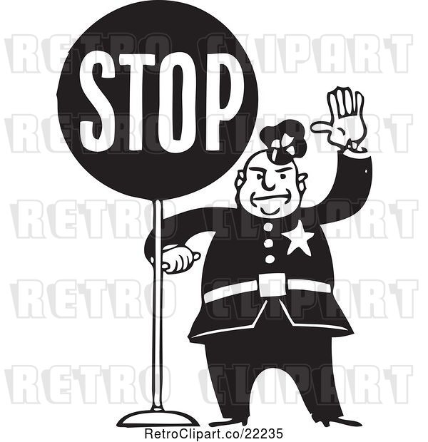 Vector Clip Art of Retro Policeman with a Stop Sign