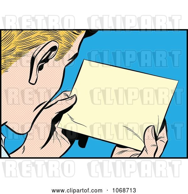 Vector Clip Art of Retro Pop Art Guy Reading a Message