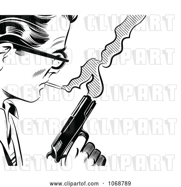 Vector Clip Art of Retro Pop Art Guy with a Cigarette and Gun
