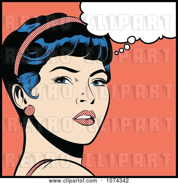 Vector Clip Art of Retro Pop Art Lady in Deep Thought