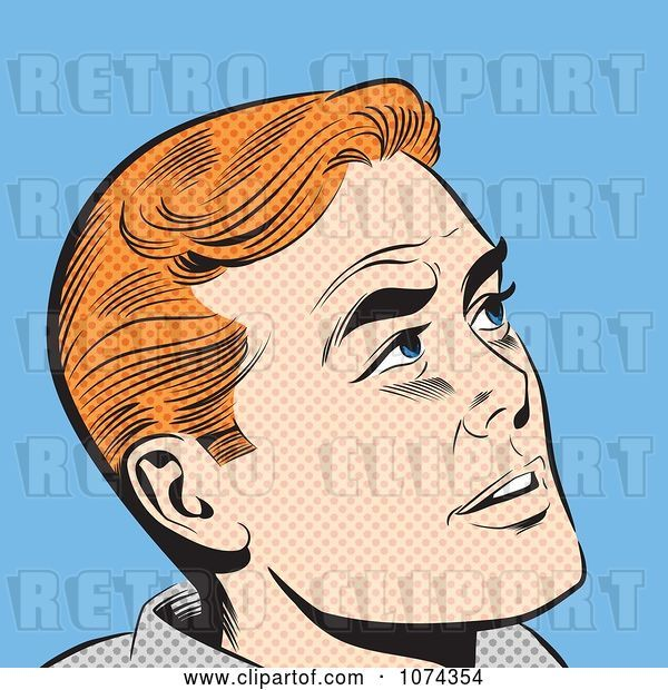 Vector Clip Art of Retro Pop Art Red Haired Guy Looking up