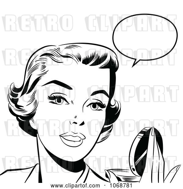 Vector Clip Art of Retro Pop Art Talking Lady Holding a Compact