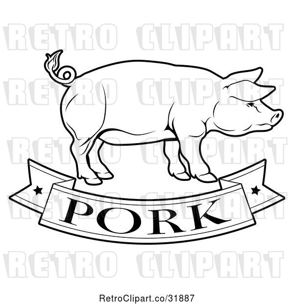 Vector Clip Art of Retro Pork Food Banner and Pig