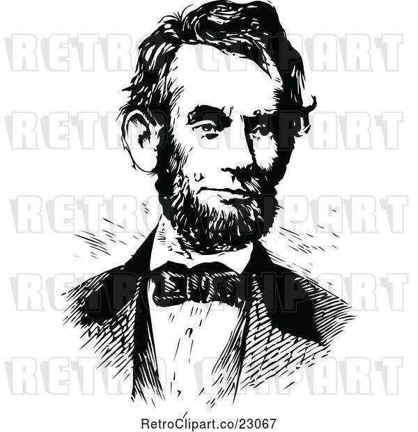 Vector Clip Art of Retro Portrait of Abe Lincoln