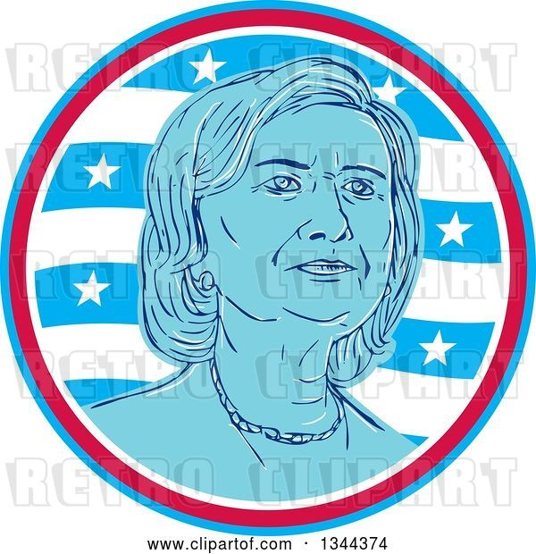 Vector Clip Art of Retro Portrait of Hillary Clinton in a Circle of Waves and Stars