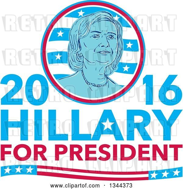 Vector Clip Art of Retro Portrait of Hillary Clinton in a Circle over Text
