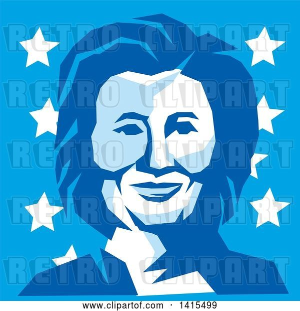 Vector Clip Art of Retro Portrait of Hillary Clinton in Blue Tones, over Stars