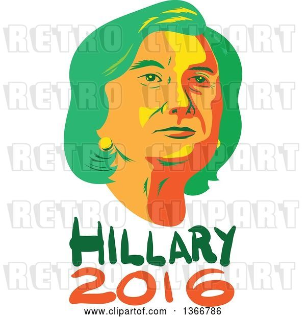 Vector Clip Art of Retro Portrait of Hillary Clinton over Text