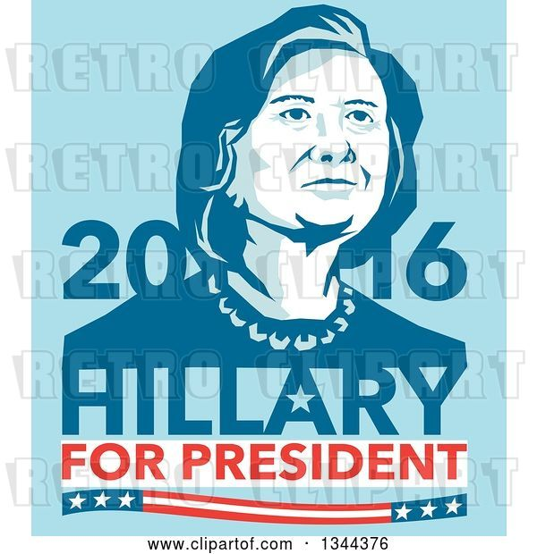 Vector Clip Art of Retro Portrait of Hillary Clinton with Text on Blue