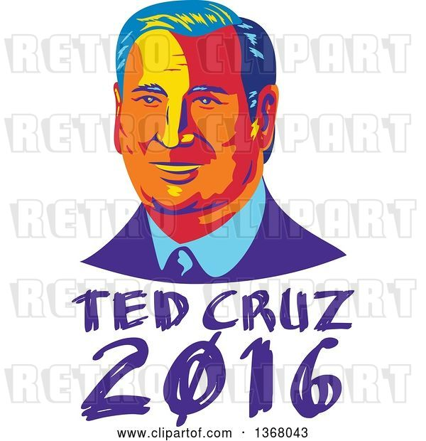 Vector Clip Art of Retro Portrait of Ted Cruz over Text