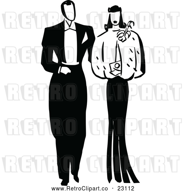 Vector Clip Art of Retro Posh Couple
