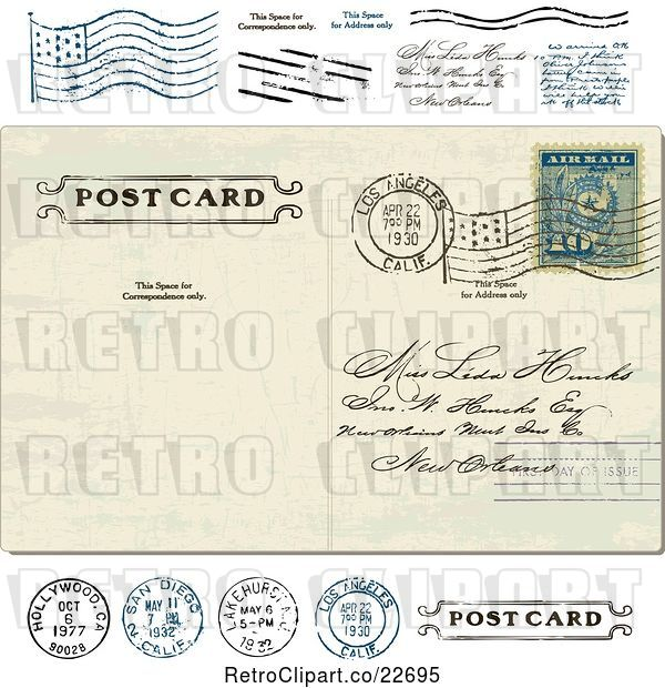 Vector Clip Art of Retro Post Card with a Postmark and Stamps