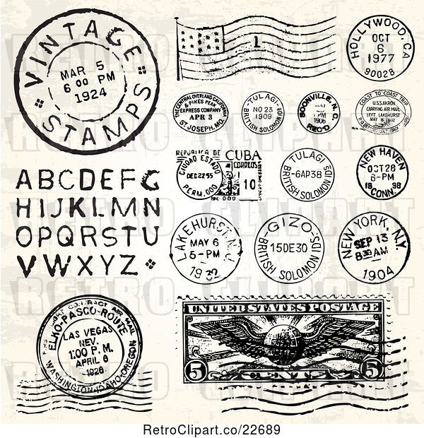 Vector Clip Art of Retro Postmark Stamps and Letters