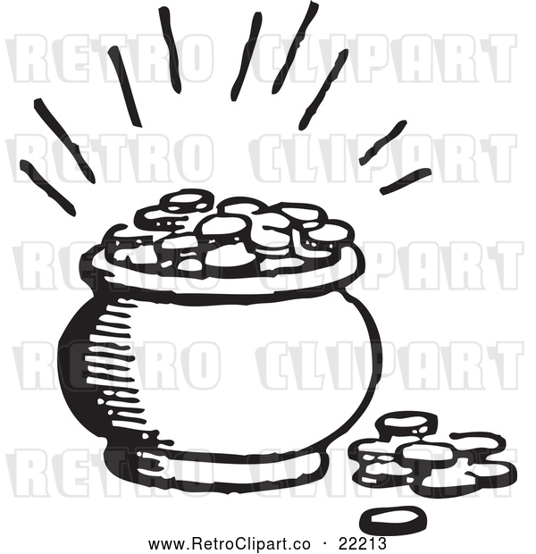 Vector Clip Art of Retro Pot of Coins