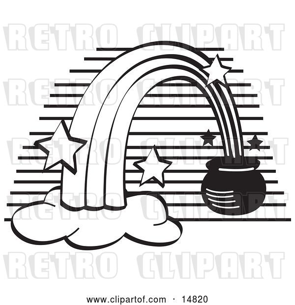 Vector Clip Art of Retro Pot of Gold at the End of a Rainbow,