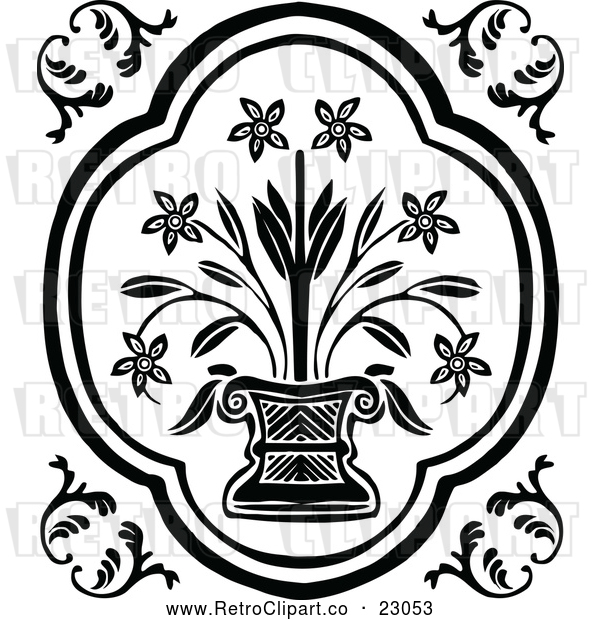 Vector Clip Art of Retro Potted Flowering Plant Design Element