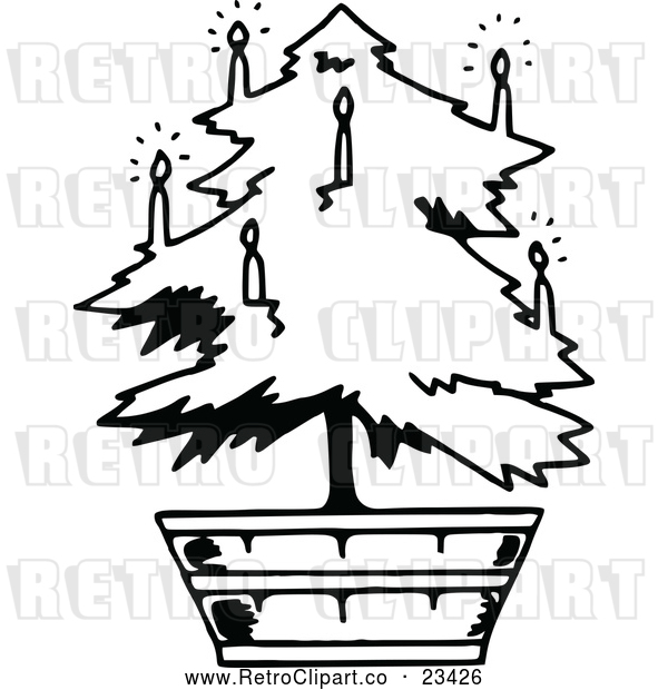 : Vector Clip Art of Retro Potted Living Christmas Tree 2