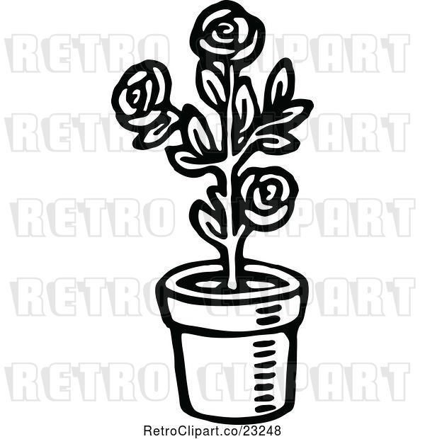 Vector Clip Art of Retro Potted Rose Plant