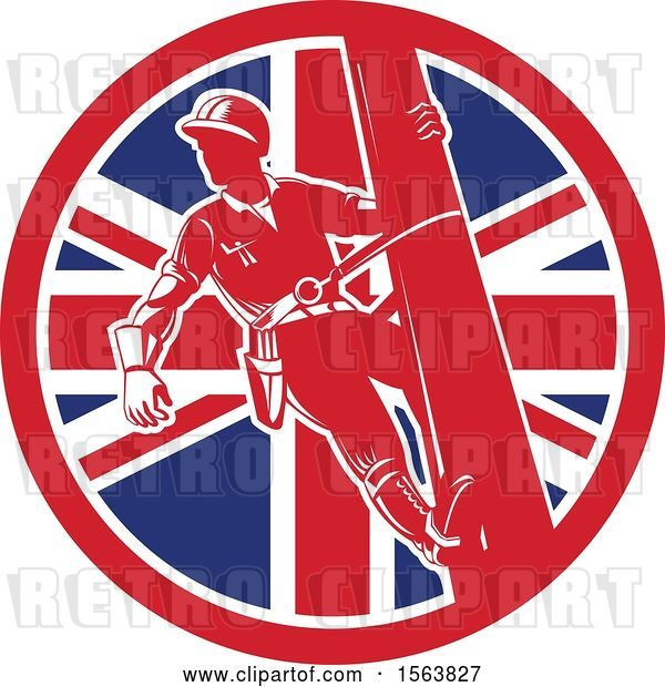 Vector Clip Art of Retro Power Lineman on a Pole in a Union Jack Flag Circle