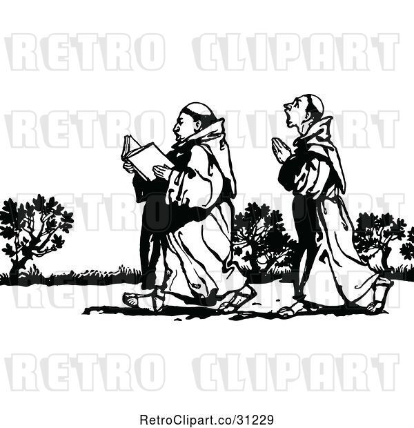 Vector Clip Art of Retro Praying Monks