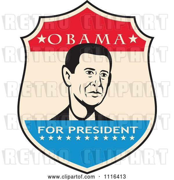 Vector Clip Art of Retro President Barack Obama Portrait in a Shield with Obama for President Text