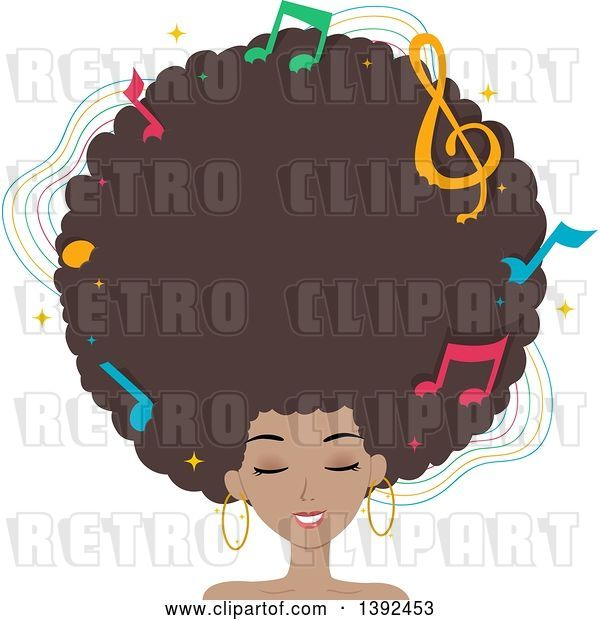 Vector Clip Art of Retro Pretty Black Lady with a Giant Afro and Music Notes