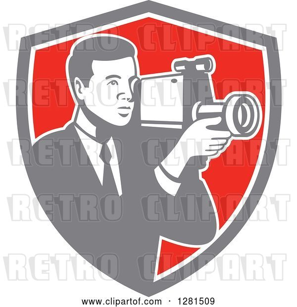 Vector Clip Art of Retro Professional Cameraman Filming in a Gray White and Red Shield