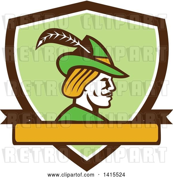 Vector Clip Art of Retro Profile of Robin Hood Wearing a Plumed Hat in a Shield