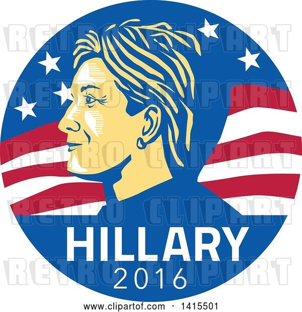 Vector Clip Art of Retro Profile Portrait of Hillary Clinton over 2016 Text in an American Flag Circle