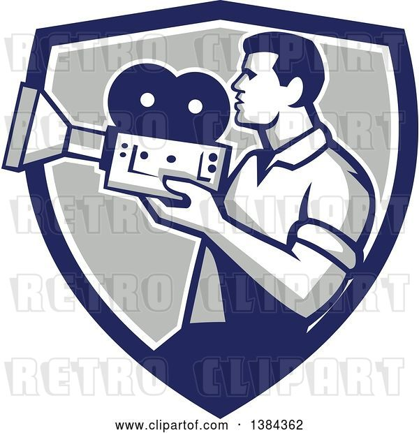 Vector Clip Art of Retro Profiled Camera Guy Filming in a Blue White and Gray Shield