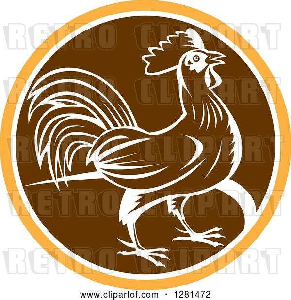 Vector Clip Art of Retro Profiled Woodcut Rooster in an Orange White and Brown Circle
