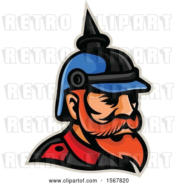 Vector Clip Art of Retro Prussian Officer Mascot Head