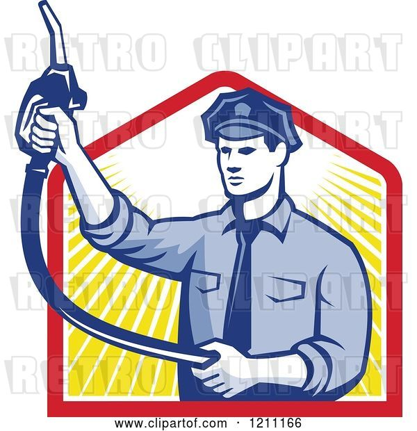 Vector Clip Art of Retro Pump Jockey Holding up a Fuel Nozzle over Rays
