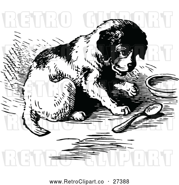 Vector Clip Art of Retro Puppy with a Spoon and Dish