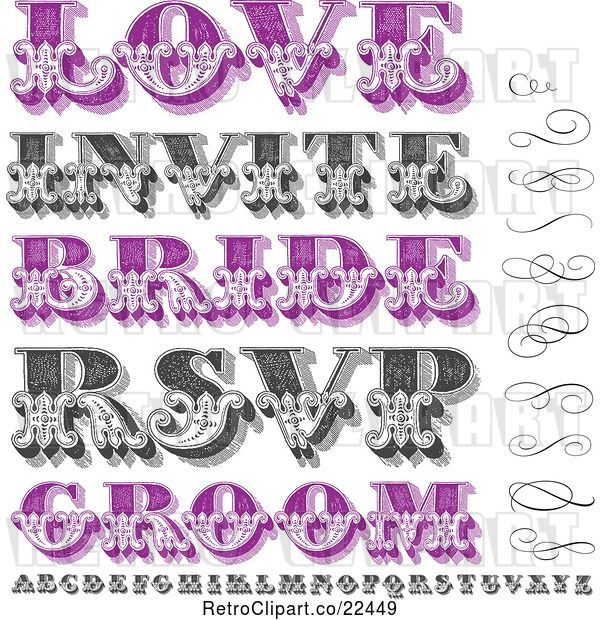 Vector Clip Art of Retro Purple and Swirls Letters and Marriage Words