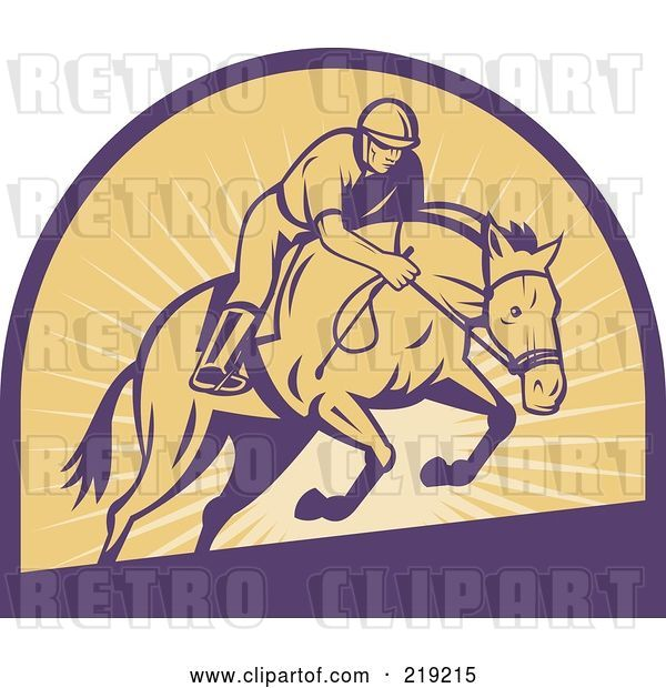 Vector Clip Art of Retro Purple and Yellow Horse Racing Logo