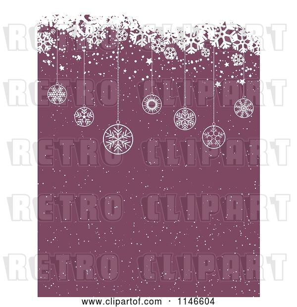 Vector Clip Art of Retro Purple Christmas Snow Background with Grunge and Hanging Ornaments