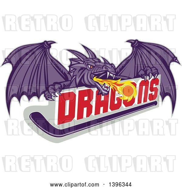Vector Clip Art of Retro Purple Fire Breathing Dragon and a Ball over Text and Hockey Stick