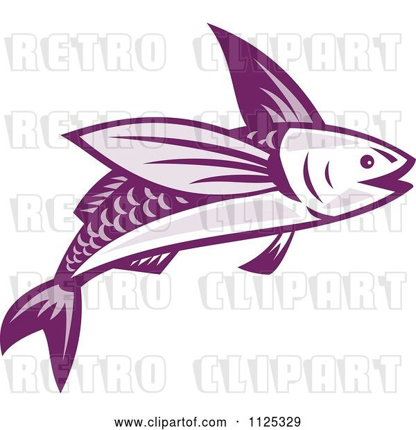 Vector Clip Art of Retro Purple Flying Fish