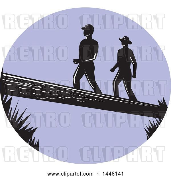 Vector Clip Art of Retro Purple Oval with Silhouetted Woodcut Men Crossing a Log
