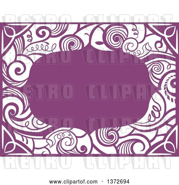 Vector Clip Art of Retro Purple Swirl Floral Frame