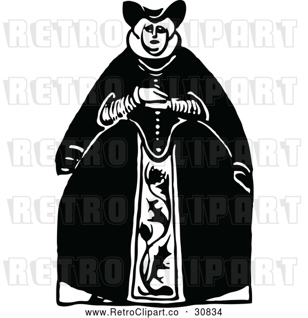 Vector Clip Art of Retro Queen in a Large Dress