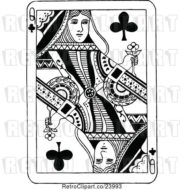 Vector Clip Art of Retro Queen of Clubs Playing Card