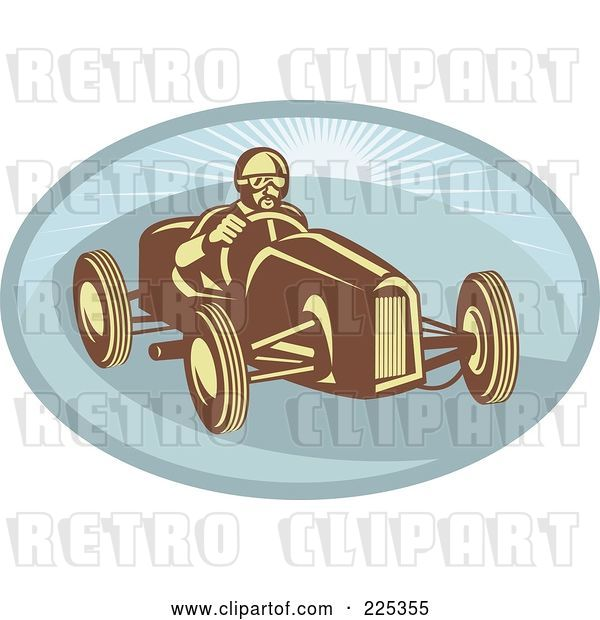 Vector Clip Art of Retro Race Car Driver on a Blue Oval Logo