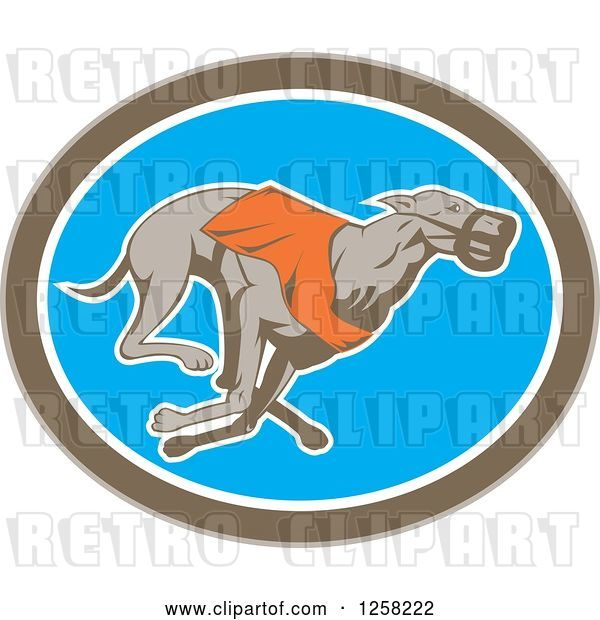 Vector Clip Art of Retro Racing Greyhound Dog in an Oval
